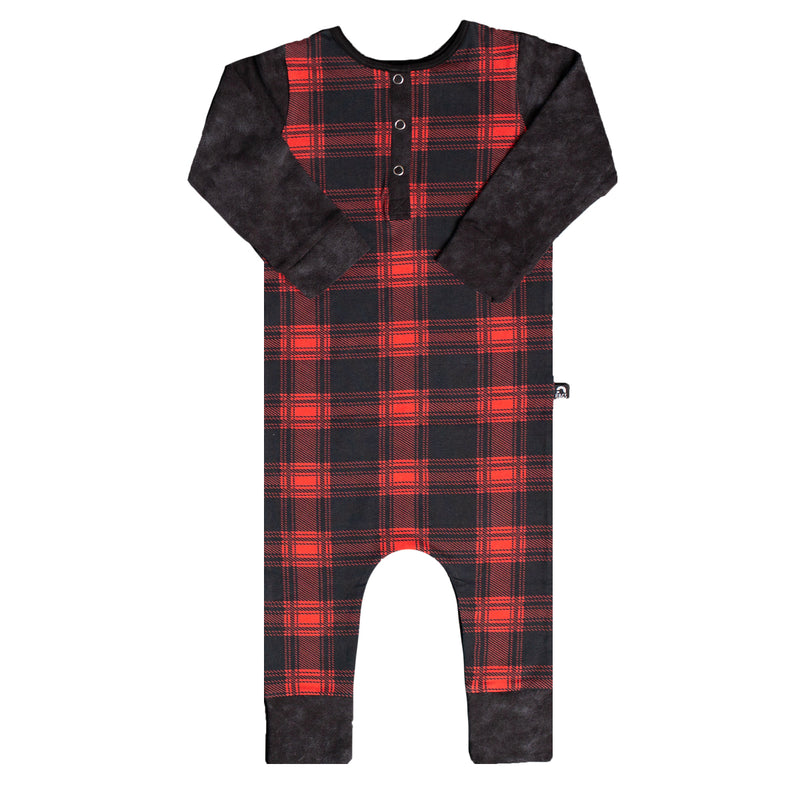 Long Sleeve Henley Rag - 'Red Plaid' - Licorice