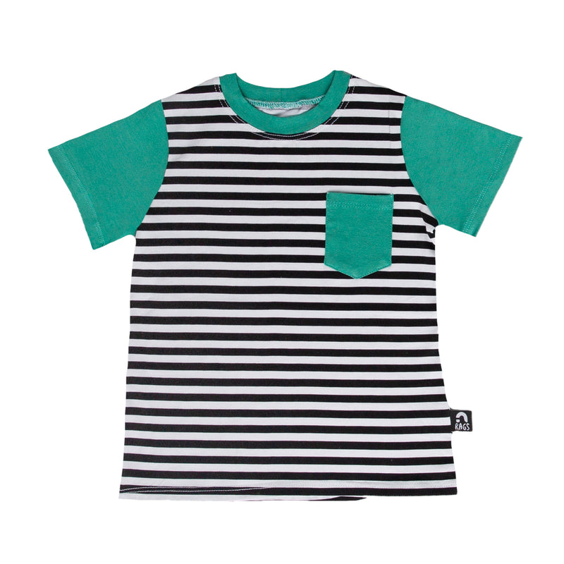 Short Sleeve Chest Pocket Tee - 'Black & White Stripe' - Porcelain Green