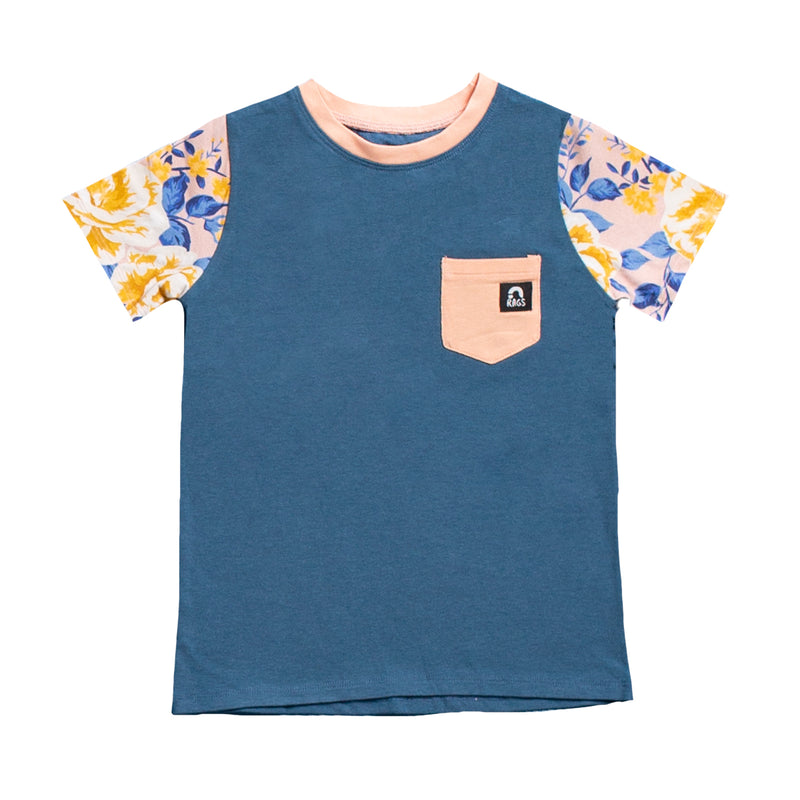 Short Sleeve Chest Pocket Tee - 'Midnight' - Rose Floral
