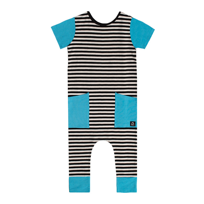 Short Sleeve Hip Pocket Rag - 'Black & White Stripe' - Cyan Blue