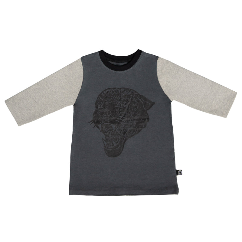 3/4 Sleeve Kids Tee - 'Panther' - India Ink