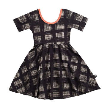 Short Sleeve Swing Dress - 'Scratchy Plaid' - Lantana