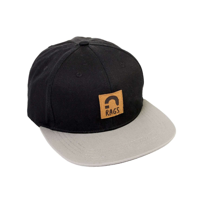 Kids Flat Billed Clipback Hat - Black 'RAGS'