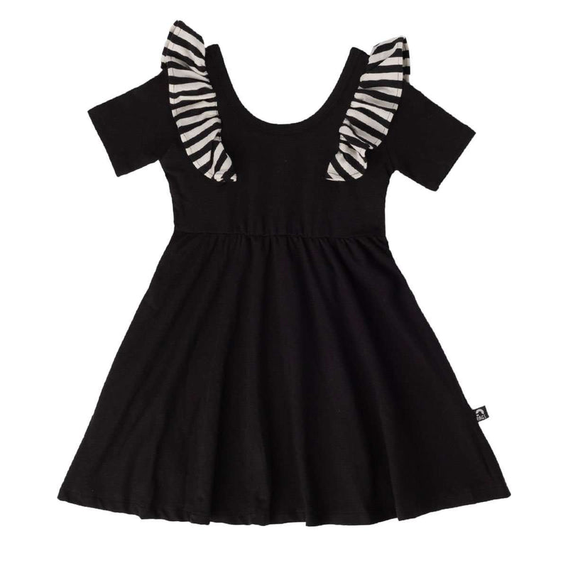 Short Sleeve Ruffle Swing Dress - 'Black' - Striped Ruffle