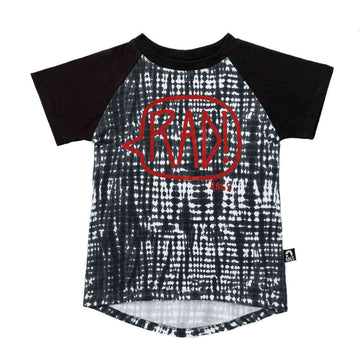 Kid's Raglan Drop Back Tee Shirt - 'RAD!' - Black Indigo Tie Dye