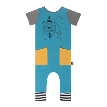 Short Sleeve Hip Pocket Rag Romper - 'Party Bear' - Blue Moon