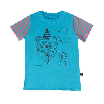 Short Sleeve Tee - 'Party Bear' - Cyan Blue