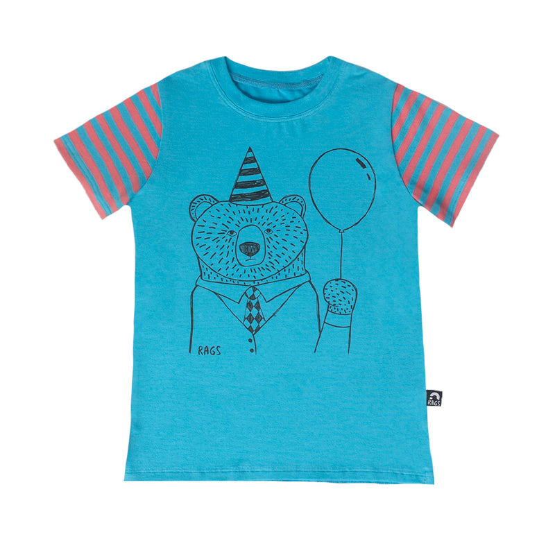 Short Sleeve Kids Tee - 'Party Bear' - Cyan Blue
