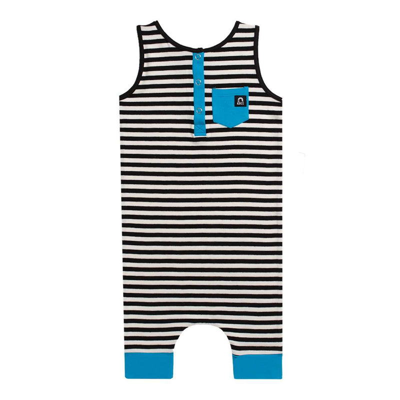 Tank Henley Pocket Capri Rag - 'Black & White Stripe' - Electric Blue
