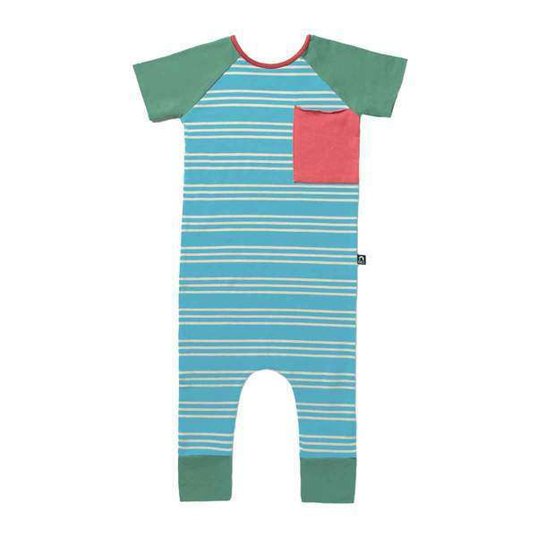 Short Sleeve Raglan Big Pocket Rag - 'Aqua Stripe'