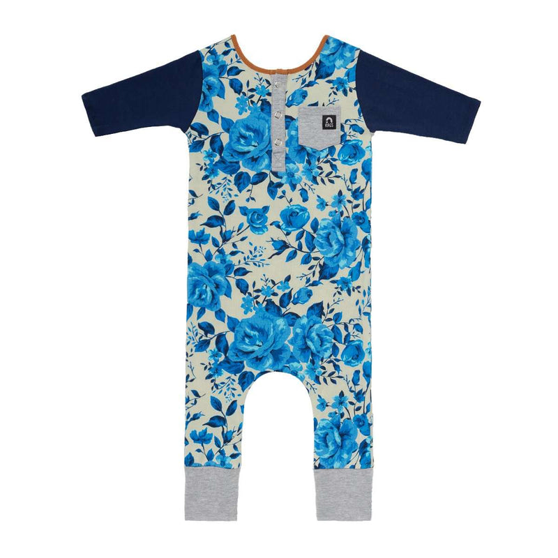 3/4 Sleeve Henley Pocket Rag - 'Blue Rose Floral'