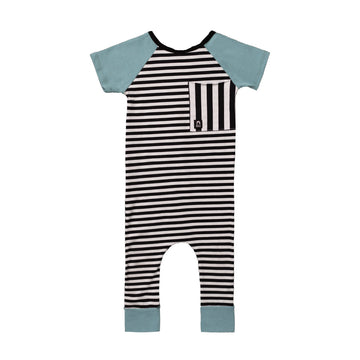 Short Sleeve Raglan Big Pocket Rag Romper - 'Black and White Stripes' - Blue