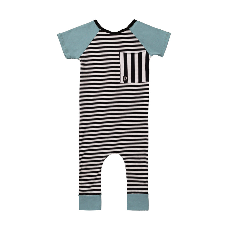 Short Sleeve Raglan Big Pocket Rag - 'Black and White Stripes' - Blue