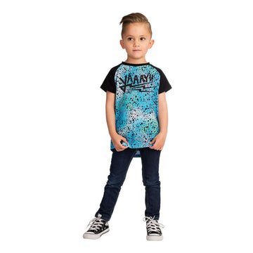 Kids Raglan Drop Back Tee Shirt  - 'YAAAY!!' - Blue Speckle