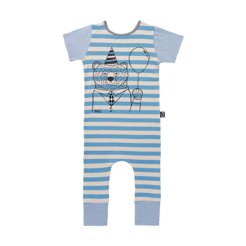 Short Sleeve Rag - 'Party Bear' - Blue Stripe