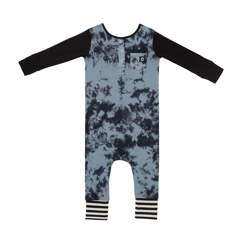 Long Sleeve Henley Pocket Rag - Blue Tie Dye