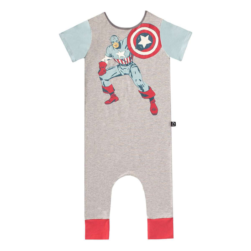 Short Sleeve Rag Romper - 'Captain America' - Marvel Collection from Rags