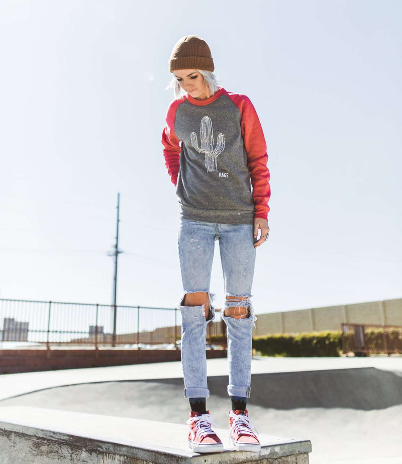 **PREORDER** Adult Raglan Unisex Sweatshirt - 'PREORDER Cactus' - Heather Grey/Red