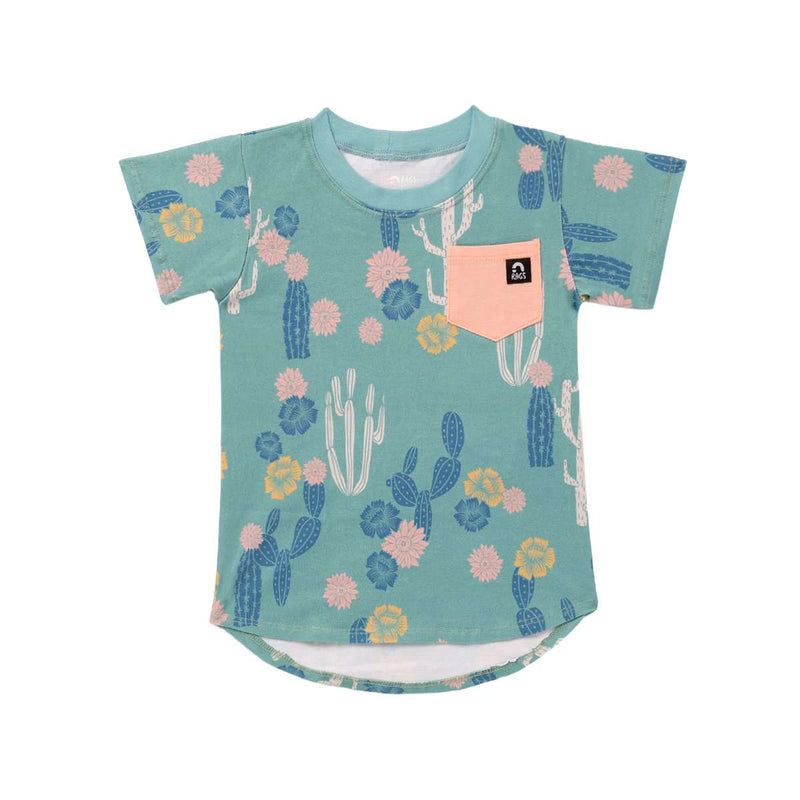 Short Sleeve Chest Pocket Tee - 'Cacti Floral' - Teal