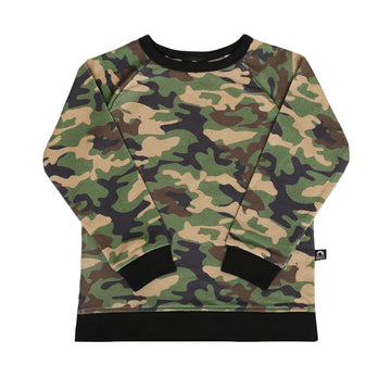 Kids Crewneck Sweatshirt - 'Camo' - Army Green