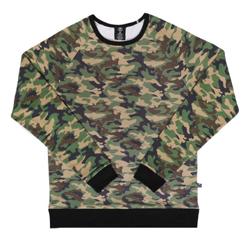 Unisex Adult Crewneck Sweatshirt - 'Camo' - Army Green