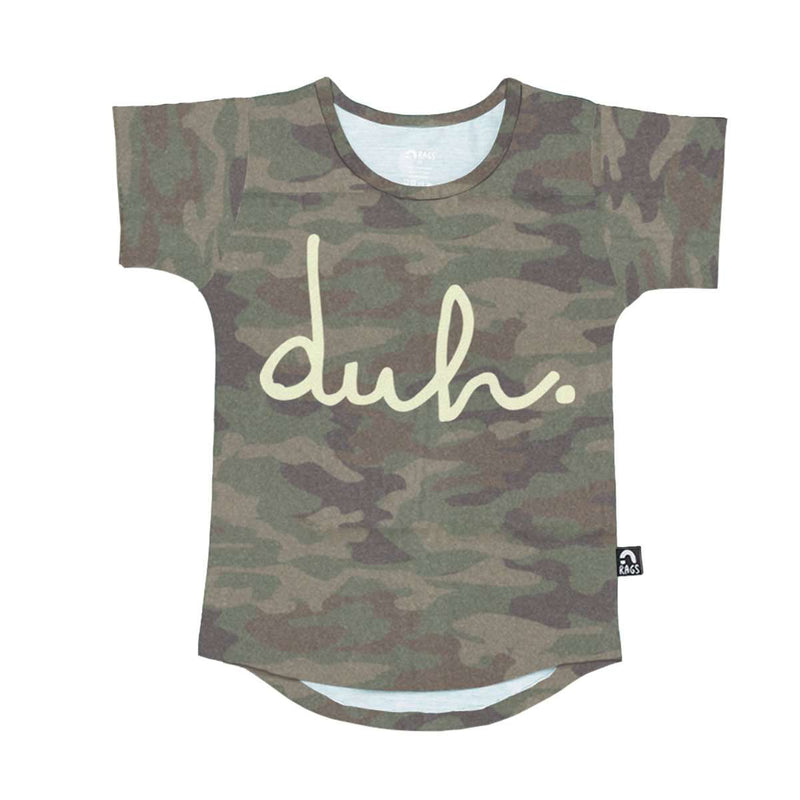 Kids Tee Shirt  - 'duh' - Faded Camo