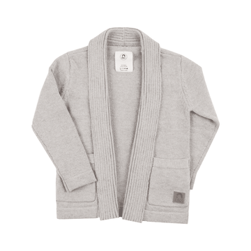 Kids Shawl Collar Cardigan - 'Soft Grey'