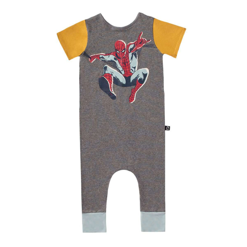Short Sleeve Rag Romper - 'SpiderMan' - Marvel Collection from Rags - Charcoal