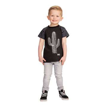 Kid's Raglan Drop Back Tee Shirt  - 'Cactus' - Charcoal Striped Sleeve
