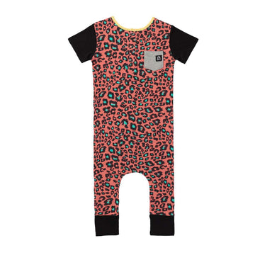 Short Sleeve Henley Pocket Rag - 'Coral Cheetah' - Cheetah