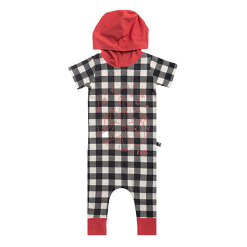 Short Sleeve Hooded Rag - 'Geosnowflake' - Plaid