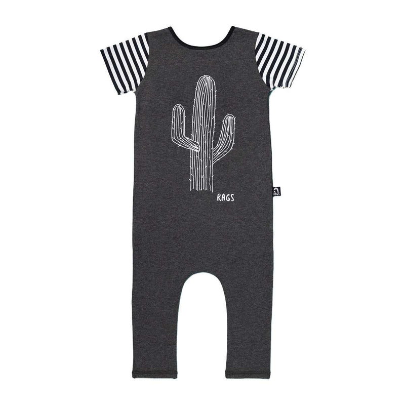Short Sleeve Cuffless Rag - 'Cactus' - Charcoal Grey