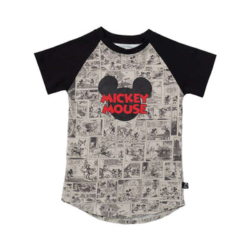 Kid's Raglan Drop Back Tee Shirt - 'Mickey Mouse Comic' - Disney Collection from RAGS