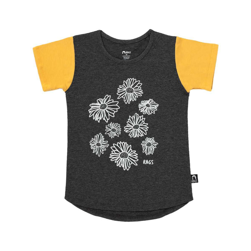 Kids OG Style Tee  - 'Daisies' - Charcoal