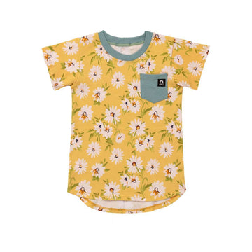 Kids Pocket Tee - 'Daisy Floral' - Yellow