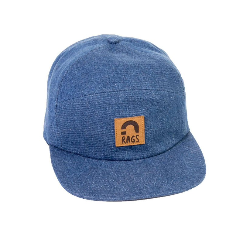 Unisex Adult Broken H Panel Clipback Hat - Denim 'RAGS'