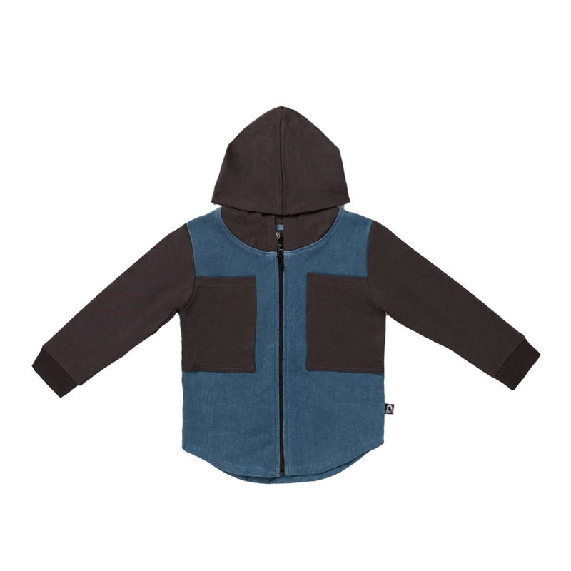 Kids Double Chest Pocket Hoodie - 'Washed Blue Denim'