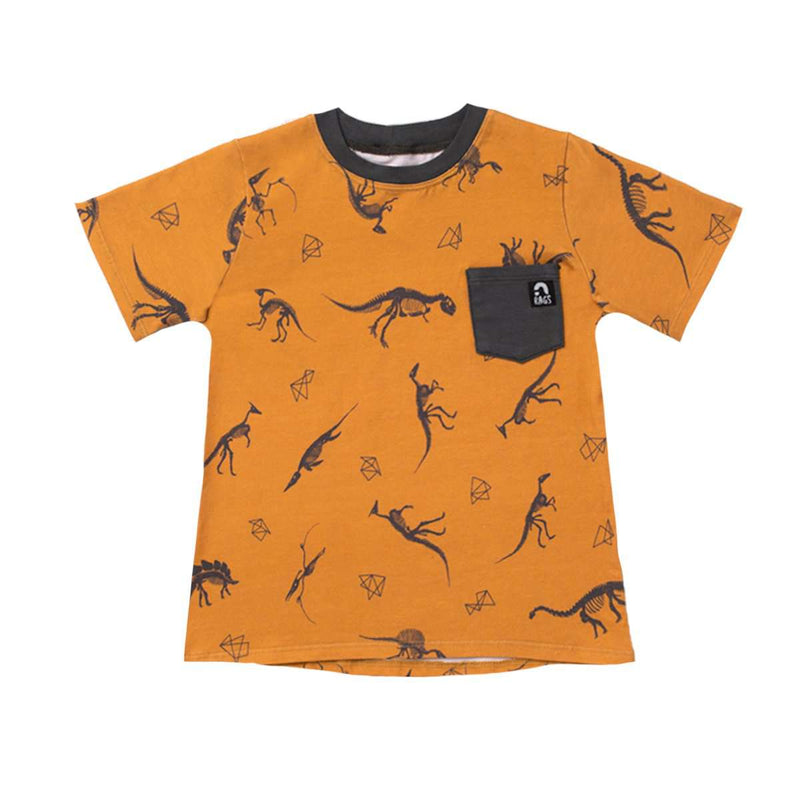 Short Sleeve Chest Pocket Tee - 'Dino' - Mustard