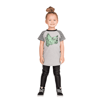 Kids Raglan Tee Shirt  - 'Dinomyte the Triceratops'