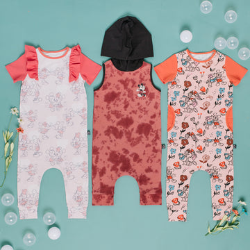 Tank Hooded Capri Rag Romper - 'Mickey & Minnie Tie Dye' - Dusty Cedar & Ash Rose Tie-dye - Disney Collection from RAGS