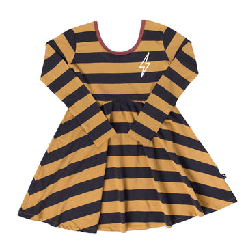 Long Sleeve Swing Dress - 'Lightning' - Mustard Stripe