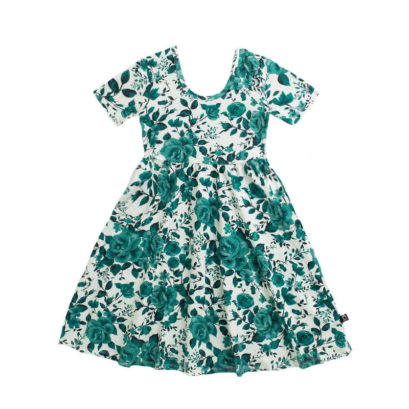 Short Sleeve Swing Dress - 'Rose Floral' - Green