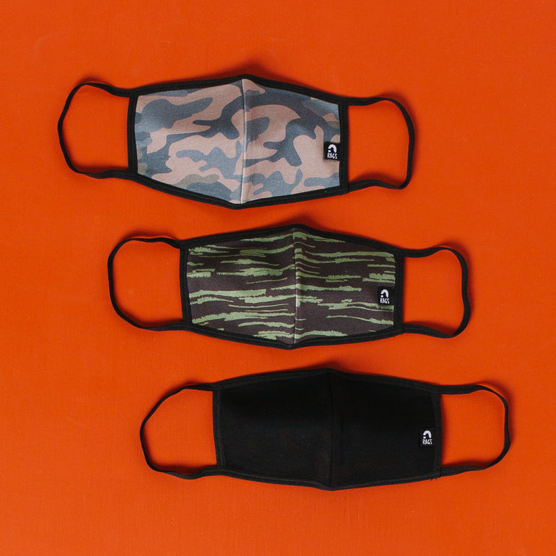 Kids Face Mask Bundle - 'Camo' - Paint Roller Olivine, Black, Camo