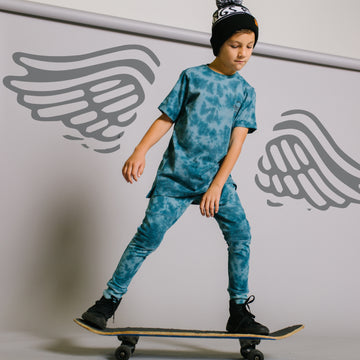 Short Rolled Sleeve Kids Tee - 'Skate Co Rags' - Deep Jungle Tie Dye
