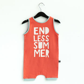 Tank Short Rag Romper - 'Endless Summer' - Hot Coral CAW