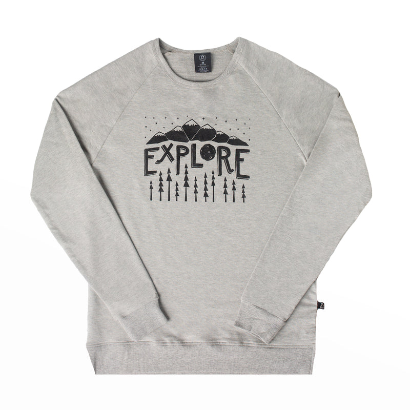 Unisex Adult Crewneck Sweatshirt - 'Explore' - Heather Grey