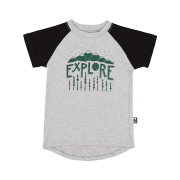 Kid's Raglan Drop Back Tee Shirt  - 'Explore'