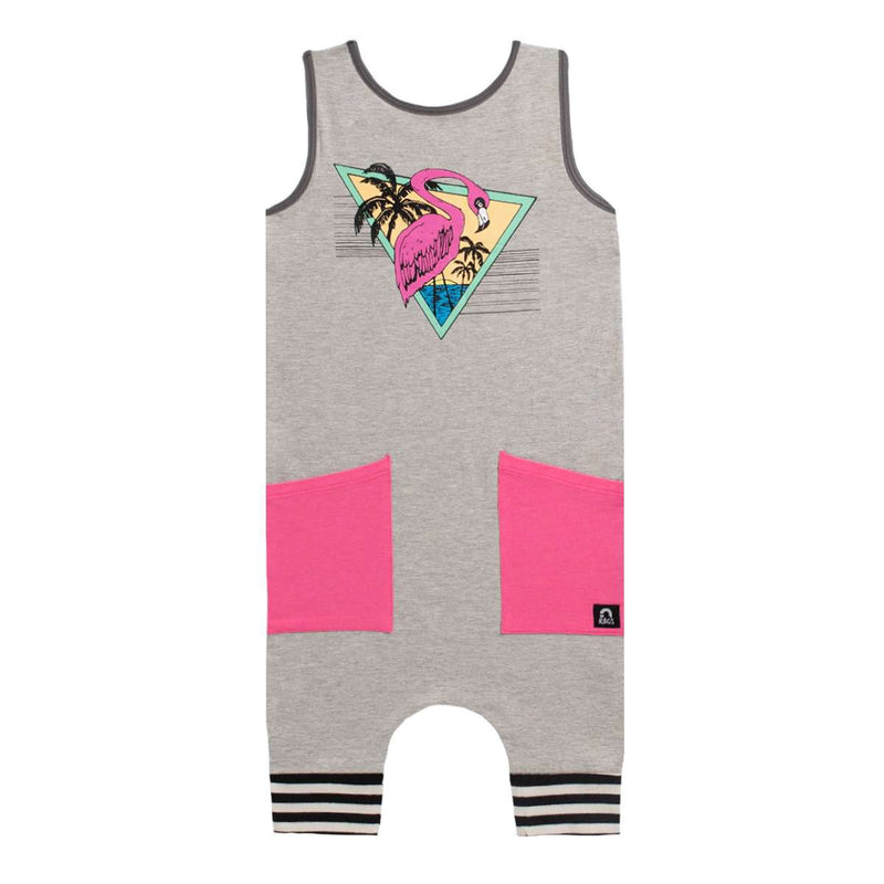 Tank Capri Hip Pocket Rag - 'Flamingo' - Heather Grey