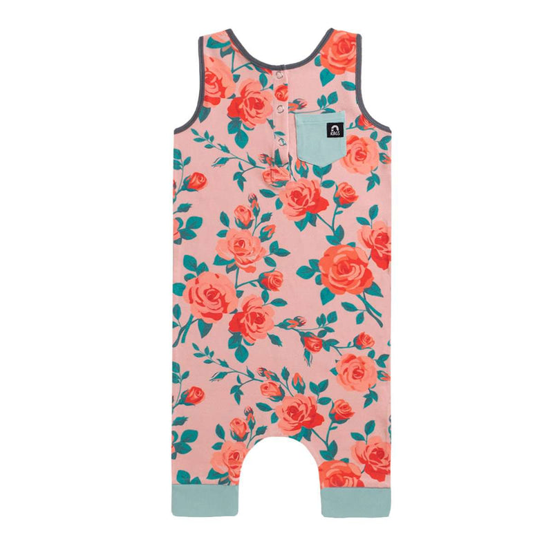 Tank Henley Capri Rag - 'Rose Floral' - Dusty Pink