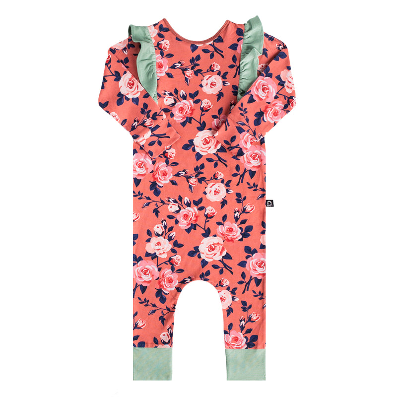 Long Sleeve Ruffle Rag - 'Small Rose Floral' - Persimmon